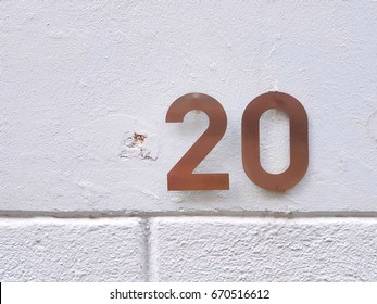 number 20 House number on the wall twenty 20
