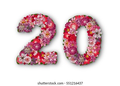 number 20 made of red hepatica flowers, 20th birthday