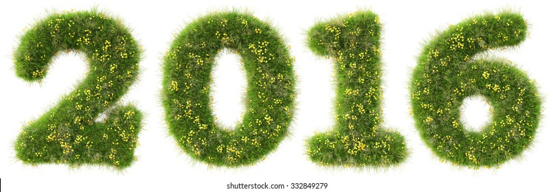 number 2016 from the green grass. isolated on white background.