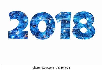 number  2018 isolated  on a white background with copy space,happy new year.