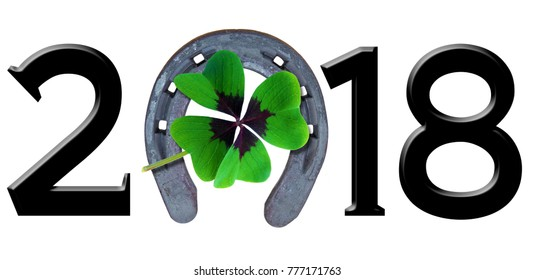 Number 2018 with shamrock and horse shoe
