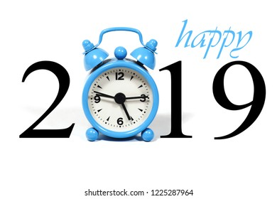 Number 2019 with a blue alarm clock. New year 2019, clock count down, white background with copy space. Happy New Year. Creative concept.