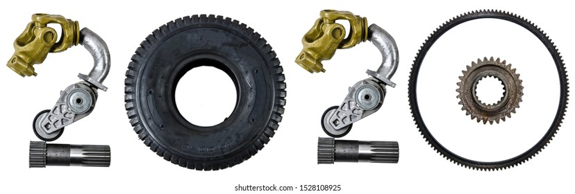 Number 2020 written with heavy machinery tractors or car parts, as a metaphor or concept for repair shop, workshop, diy, new beginning. Isolated on white background. Happy New Year