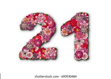 number 21 , birthday flowers