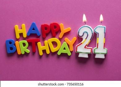 Number 21 happy birthday celebration candle