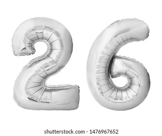 Number 26 twenty six made of silver inflatable balloons isolated on white background. Silver chrome helium balloons forming 26 twenty six number