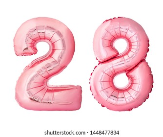 Number 28 twenty eight made of rose gold inflatable balloons isolated on white background. Pink helium balloons forming 28 twenty eight number