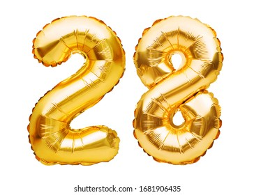 Number 28 twenty eight made of golden inflatable balloons isolated on white. Helium balloons, gold foil numbers. Party decoration, anniversary sign for holidays, celebration, birthday, carnival