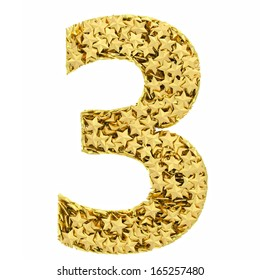 Number 3 composed of golden stars isolated on white. High resolution 3D image