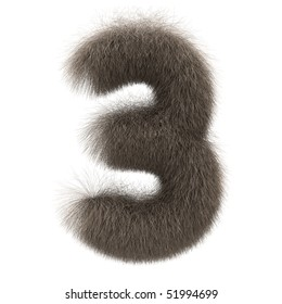 Number 3 from fur alphabet