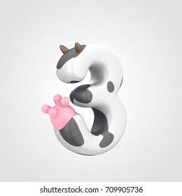 Number 3 imitating cow. 3D render white font with black dots skin pattern, brown horns and pink udder isolated on white background.