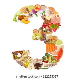 Number 3 made of food isolated on white background