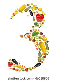 """Number """"3"""" made of fruit and vegetable"""