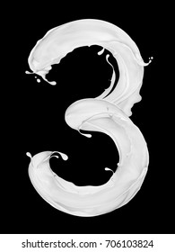 Number 3 made from splashes of milk on black background