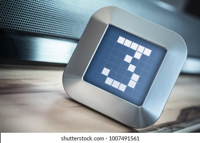The Number 3 On A Digital Calendar, Thermostat Or Timer