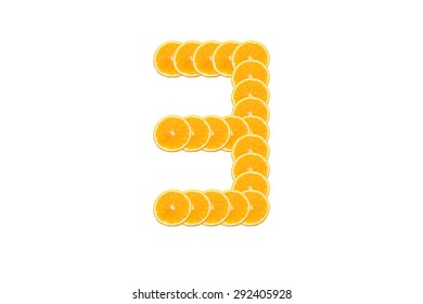 Number 3 (three) alphabet, Made of sliced citrus, orange fruit Isolated on white background.