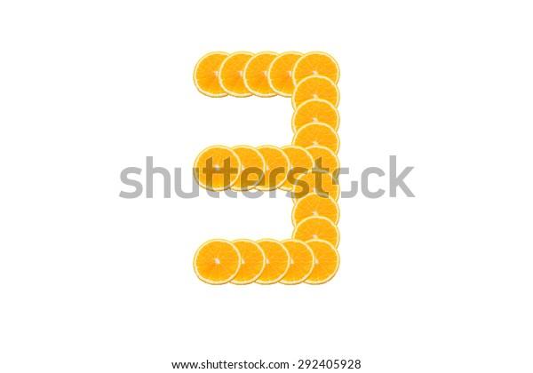 Number 3 (three) alphabet, Made of sliced citrus, orange fruit Isolated on white background.