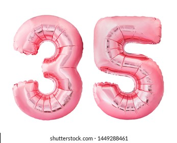 Number 35 thirty five made of rose gold inflatable balloons isolated on white background. Pink helium balloons forming 35 thirty five. Birthday concept