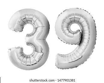 Number 39 thirty nine made of silver inflatable balloons isolated on white background. Chrome silver helium balloons forming 39 thirty nine. Birthday concept