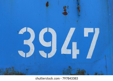 number 3947, white stencil numbers