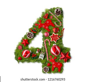 Number 4. Christmas tree decoration on a white background