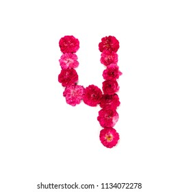Number 4 from flowers of a red and pink rose on a white background. Typographical element for design. Flower numbers, date, isolate, isolated