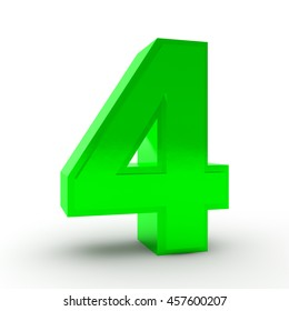 Number 4 green color collection on white background illustration 3D rendering