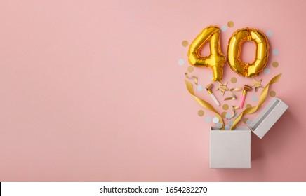 Number 40 birthday balloon celebration gift box lay flat explosion