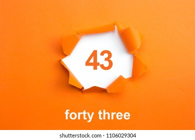 Number 43 - written Number forty three on orange background