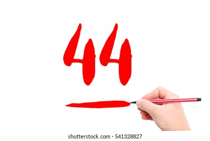 The number 44 written by a hand on a white background