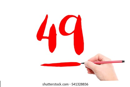The number 49 written by a hand on a white background