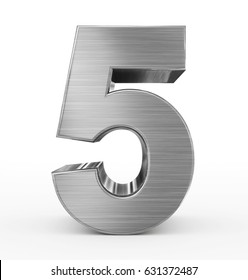 number 5 3d metal isolated on white - 3d rendering