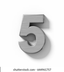 number 5 3D metal isolated on white with shadow - orthogonal projection - 3d rendering