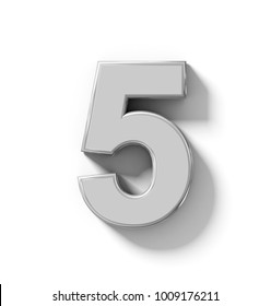 number 5 3D silver isolated on white with shadow - orthogonal projection - 3d rendering