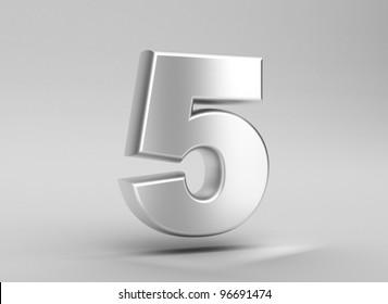 number 5 aluminum iron on grey background
