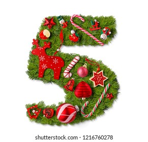 Number 5. Christmas tree decoration on a white background