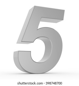 Number 5 chrome gray collection on white background illustration 3D rendering