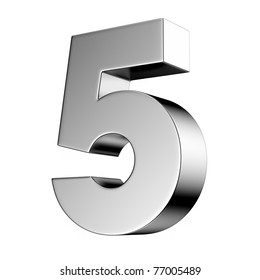Number 5 from chrome solid alphabet. There is a clipping path
