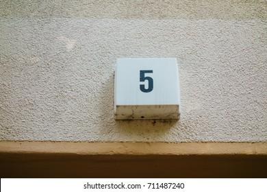 number 5 door sign