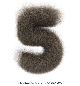 Number 5 from fur alphabet