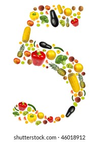 """Number """"5"""" made of fruit and vegetable"""
