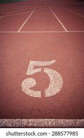 Number  5 running track vintage color