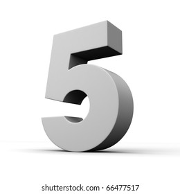 Number 5 from solid alphabet. There is a clipping path