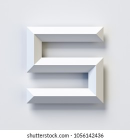 Number 5, square three dimensional font, white, simple, geometric, casting shadow on the background wall, 3d rendering