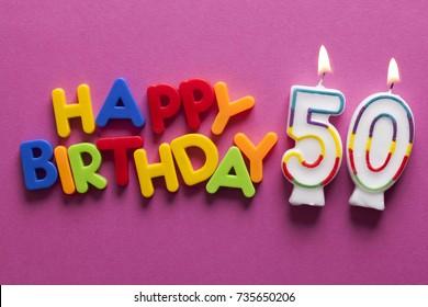 Number 50 happy birthday celebration candle