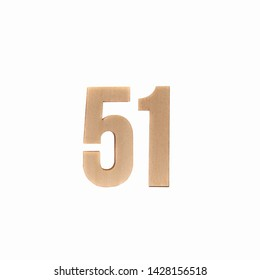 Number 51 made in wood on isolated background
