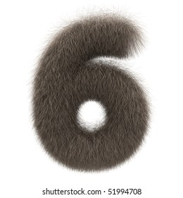 Number 6 from fur alphabet