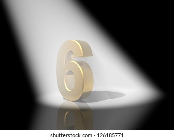 Number 6  from gold solid alphabet.
