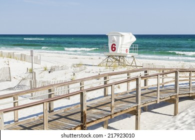 The number 6 lifeguard station at Park West on the western end of Pensacola Beach, Florida.