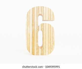 Number 6 made with wood on a white background. 3d Rendering.